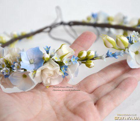 Cold porcelain hairband. Forget-me-not. Венки. Венок с цветами на голову Незабудковое поле купить Украина — SKRYNYA.UA