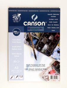 Canson Finface Çok Amaçlı Sanatsal Blok 200 gr. Spiralli A3 20 Sayfa