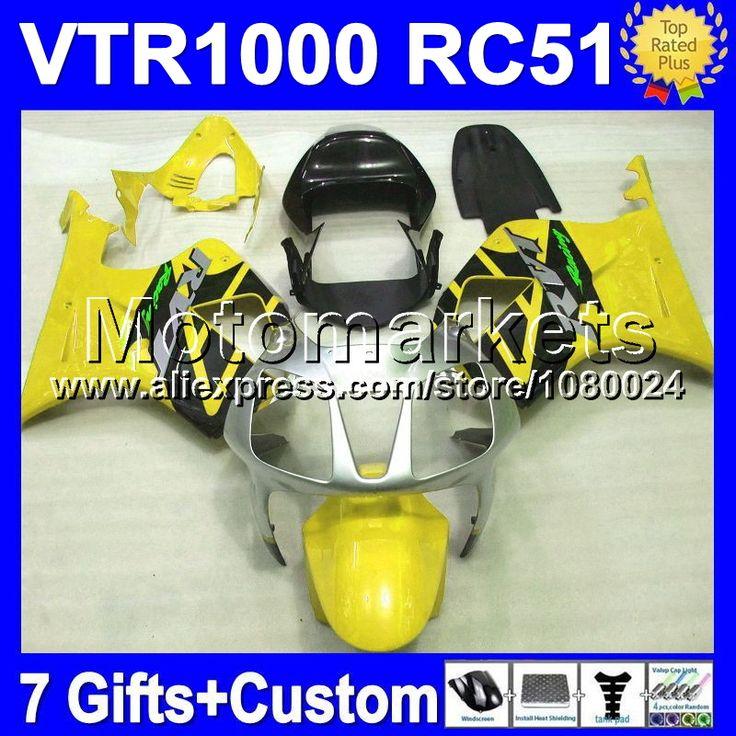 Для HONDA 2006 VTR1000 ртв 2004 RTV1000 желтый черный 66 2005 VTR 1000 R 2000 2001 2002 2003 RC51 с пакетом обновления SP2 светло-желтый обтекатели