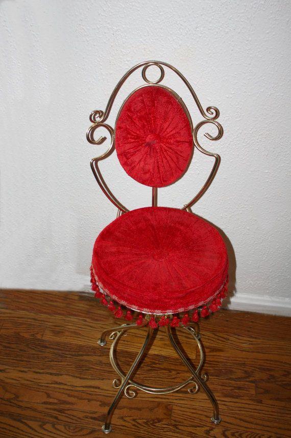 Vintage Metal Vanity Swivel Chair Red Velvet By Queenieseclectic 55 00