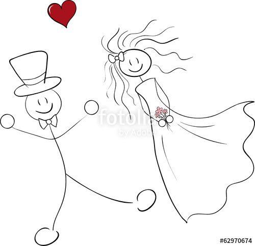 Vektor: Brautpaar Strichmännchen