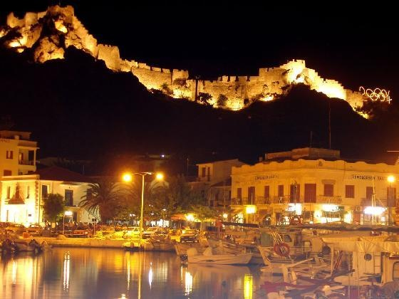 the castle lit up at night. Limnos Greece