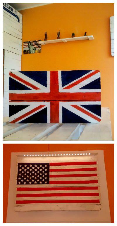 #Flag, #HomeDécor, #RecycledPallet Bandiera regno unito realizzata con pallets di riciclo, verniciata a mano, dimensioni 38 x 60 cm.  Bandiera usa realizzata con pallets di riciclo, verniciata a mano, dimensioni 80 x 120 cm.