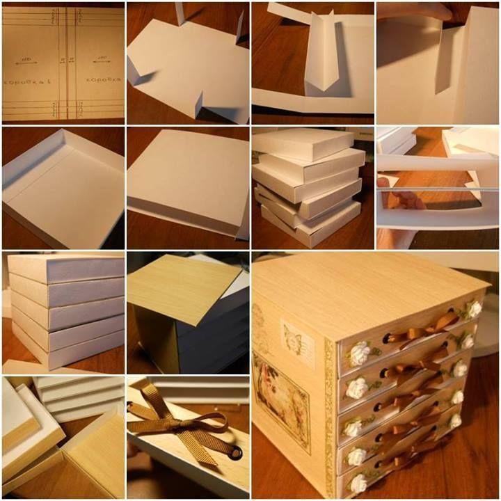 DIY 5-Drawer Cardboard Organizer