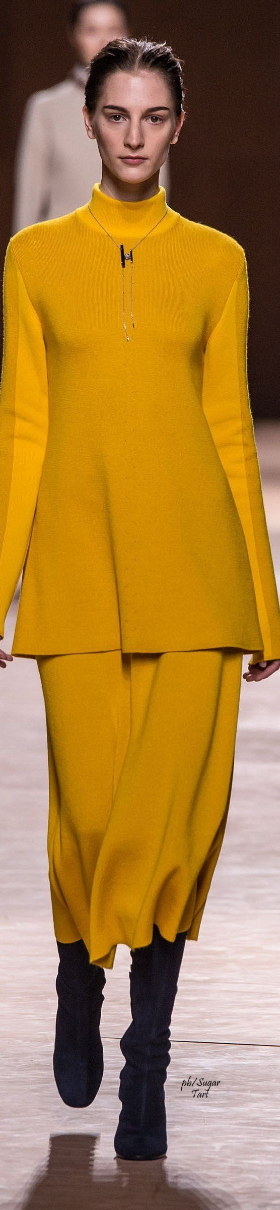 Hermes ~ Fall Cashmere Tunic w Maxi Skirt, Canary, 2015-16