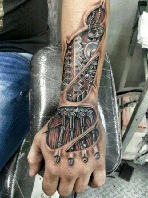 Photorealistic Half Sleeve H Tatuajes Biomecanicos Tatuajes