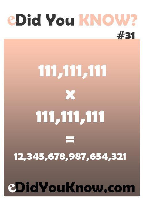 111,111,111 x 111,111,111 = 12,345,678,987,654,321 http://edidyouknow.com/did-you-know-31/