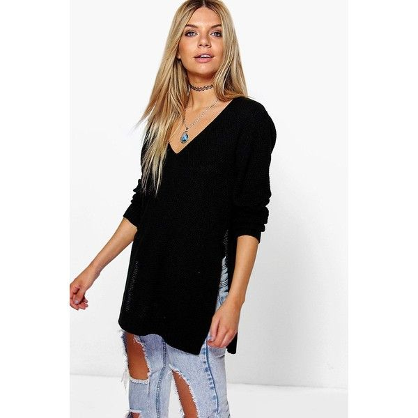 Boohoo Emilia V Neck Side Split Tunic Jumper ($24) ❤ liked on Polyvore featuring tops, sweaters, black, v-neck sweater, short-sleeve turtleneck sweaters, sequin jumper, knitwear sweater and party jumpers