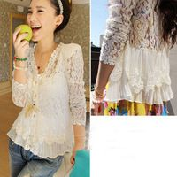 The whole network hot-selling beads shoulder pads cutout lace shirt cardigan sun protection shirt air conditioning shirt