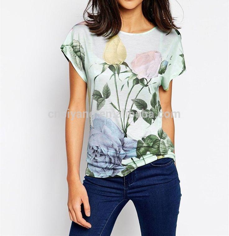 OEM tshirt manufacturers textured t-shirt printing, ladies floral print polyester tshirt