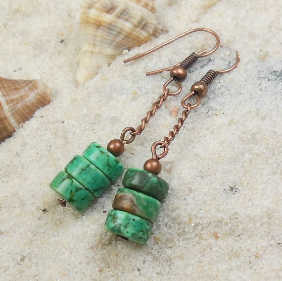 green turquoise magnesite stone, antique copper, dangle earrings