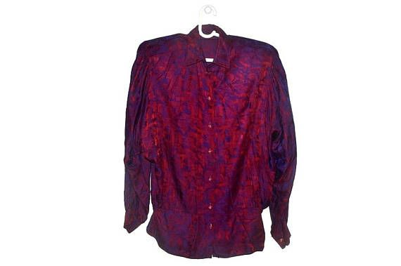 80s Burgundy Purple Batwing Blouse Womens Vintage Button Up