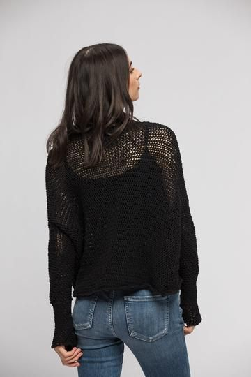 5f779bae2 Black Loose knitted sweater . Thumb holes sweater in 2019