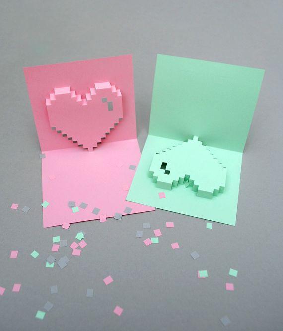 Popup pixel valentines card 2013