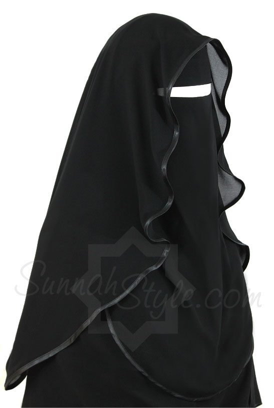 Satin Trimmed Butterfly Niqab (Black) by Sunnah Style #SunnahStyle #niqabstyle #niqaab #satintrim