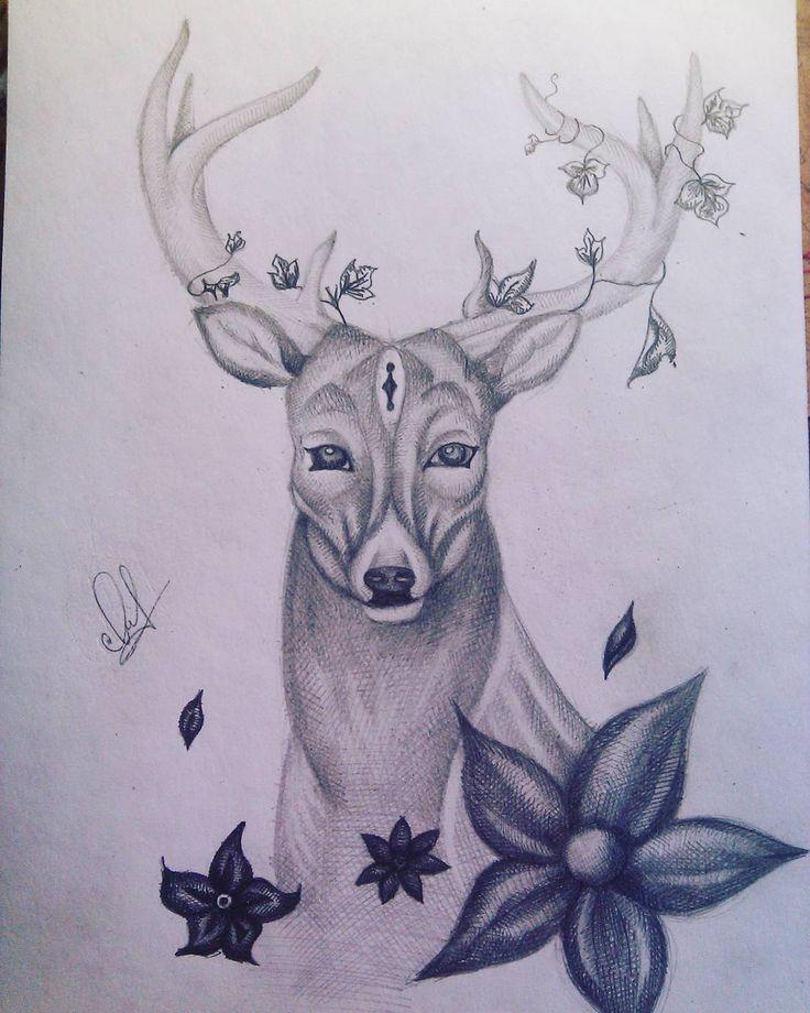 #deer #sketch #art #grafika #flowers #олень #цветы #искусство #графика #наброски #мояработа by zhenya_yakovlevaa