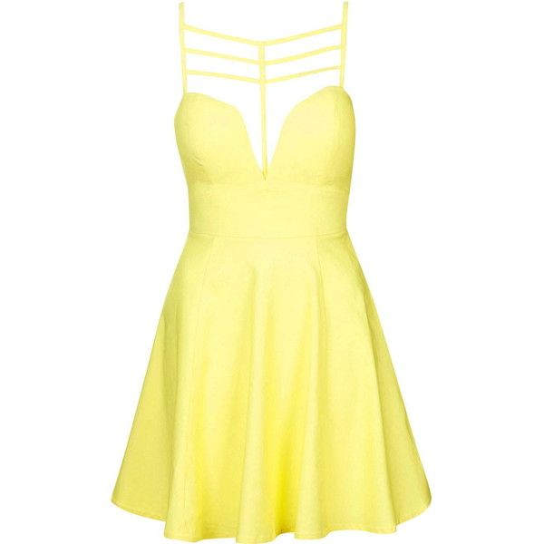 Strappy Cut-Out Skater Dress by Rare found on Polyvore featuring dresses, yellow, skater dress, plunge skater dress, yellow sweetheart dress, topshop dresses and sweetheart neckline dress