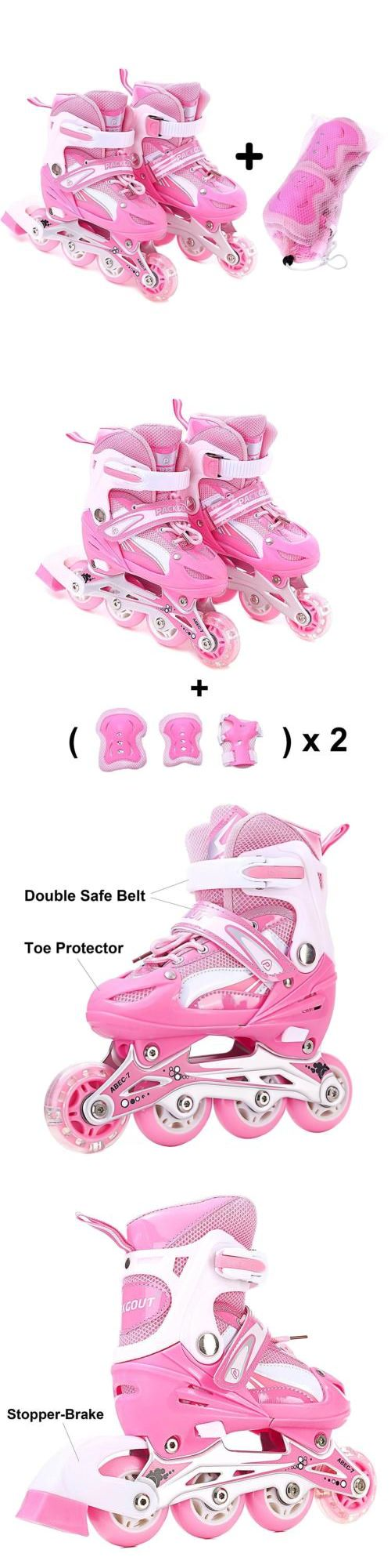 Youth 47345: Girls Inline Skates Adjustable Rollerblades For Kids S Size With Guard... -> BUY IT NOW ONLY: $57.63 on eBay!