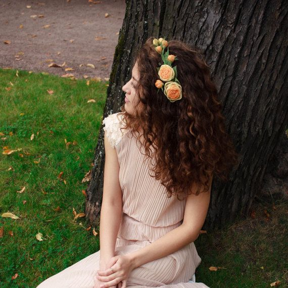 Yellow Flower Crown Bridal Adornment  by ZojkaBotanica on Etsy
