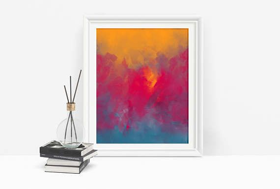 Printable Pink Abstract Art with Yellow and Blue.  Decorate your walls easily and affordable with printable art.  Just download, print, and hang :)  #pinkart #artdownload #estsyfinds