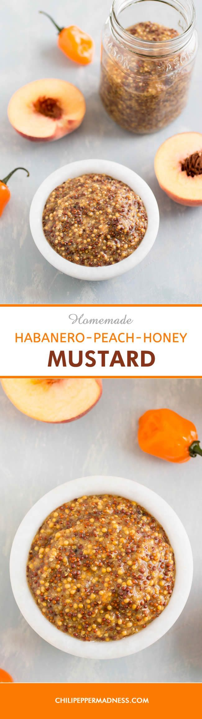 Homemade Habanero-Peach-Honey Mustard - Make your own homemade sweet and spicy mustard at home with this recipe, with fruity habanero peppers, sweet peach and honey. Homemade mustard is the only way to go. (Vegan Sauce Honey)