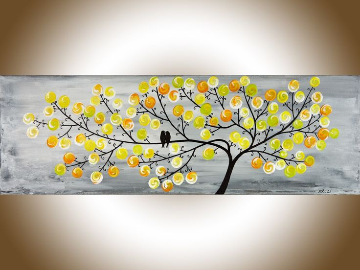 """Spring Love 2 by QIQIGallery 36"""" x 12"""" Yellow Grey Abstract art colorful modern wall art love birds home decor wall decor wall hanging original artwork"""