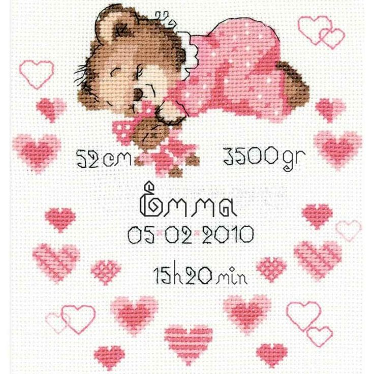 "Riolis Counted Cross Stitch Kit 7"" x 9.5"" ~ GIRLS Birth Record #1123 Sale in Crafts, Needlecrafts & Yarn, Cross Stitch & Hardanger 