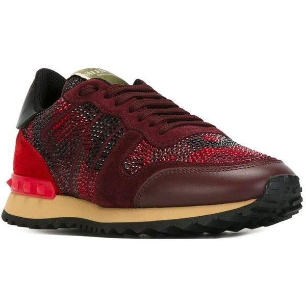 Valentino Garavani 'Rockrunner' sneakers ($1,125) ❤ liked on Polyvore featuring shoes, sneakers, lace up flat shoes, leather lace up sneakers, red and black sneakers, leather sneakers and leather lace up shoes