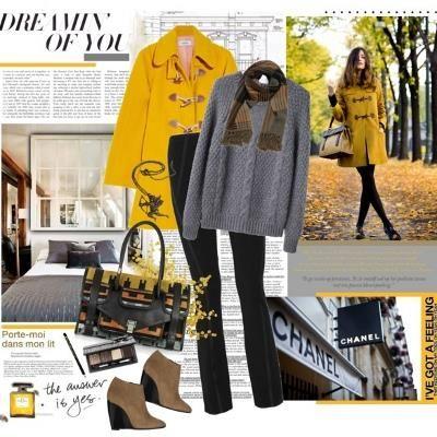 Желтое пальто с чем носить