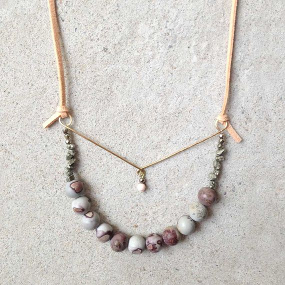 Coral Suede Necklace // Semi-precious Stones : Pyrite by Sudsudest