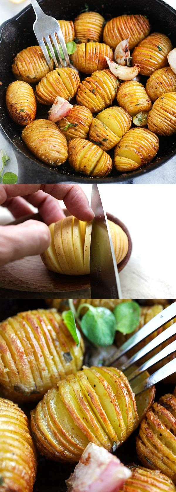 Garlic Butter Hasselback Potatoes - easy roasted potatoes with garlic and butter. Each potato is cut and sliced to form the Hasselback shape. Bake in oven for 40 minutes and you'll have the most amazing side dish | rasamalaysia.com