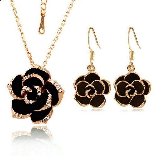 Yoursfs 18k Rose Gold Plated Austrian Crystal Black Rose Flower Necklace and Earring Sets. Read more description on the website.