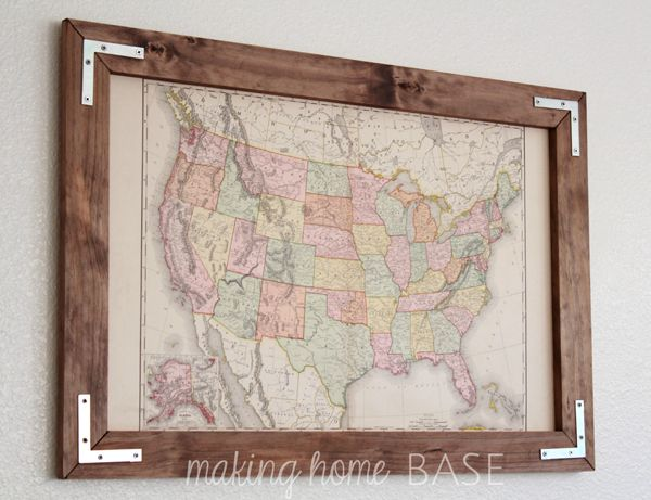 Vintage Map In A DIY Rustic Frame from Making Home Base - imagine it with old cedar fence wood!