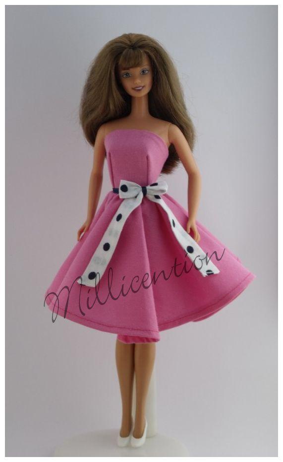 Pink Barbie doll dress with belt