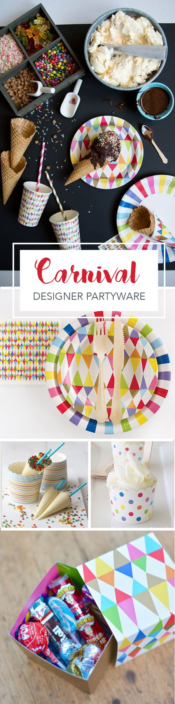 Perfect collection for the next carnival or circus themed party. Our partyware is made from sturdy, heavy board stock in a quality matte finish. PaperEskimo.com