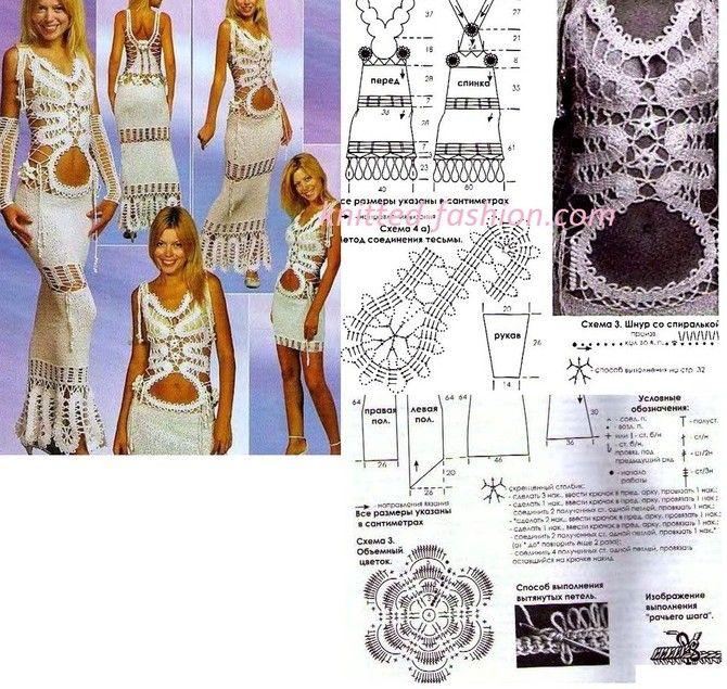 Вязаное платье крючком с описанием для начинающих