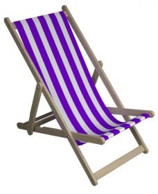 Purple and White Striped Deck Chair