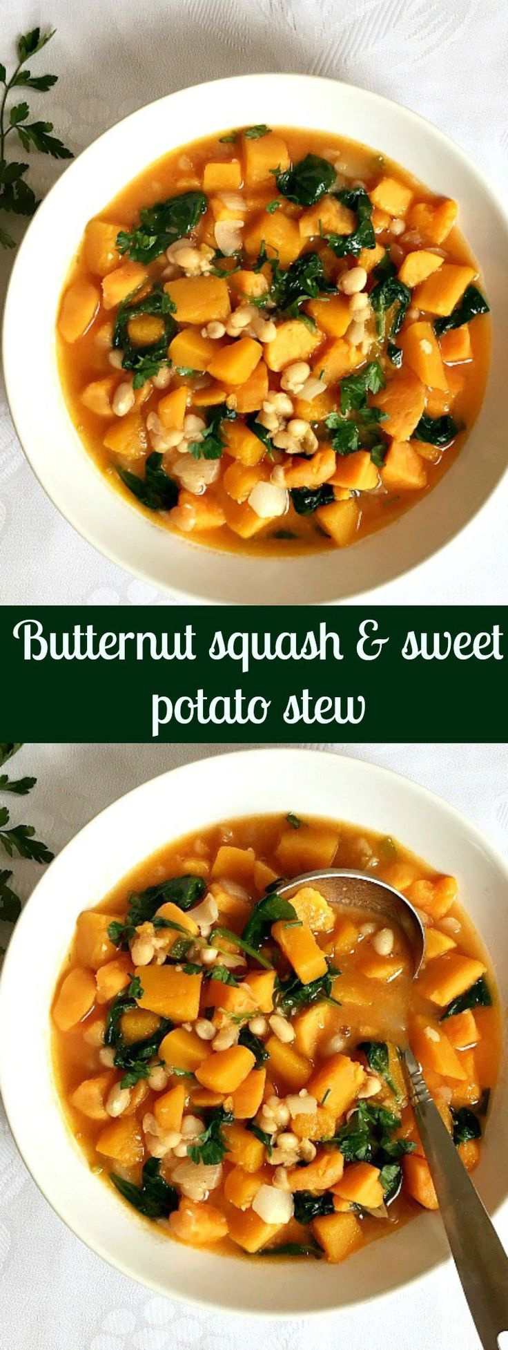 Butternut squash and sweet potato stew with spinach and beans, a healthy and comforting recipe.