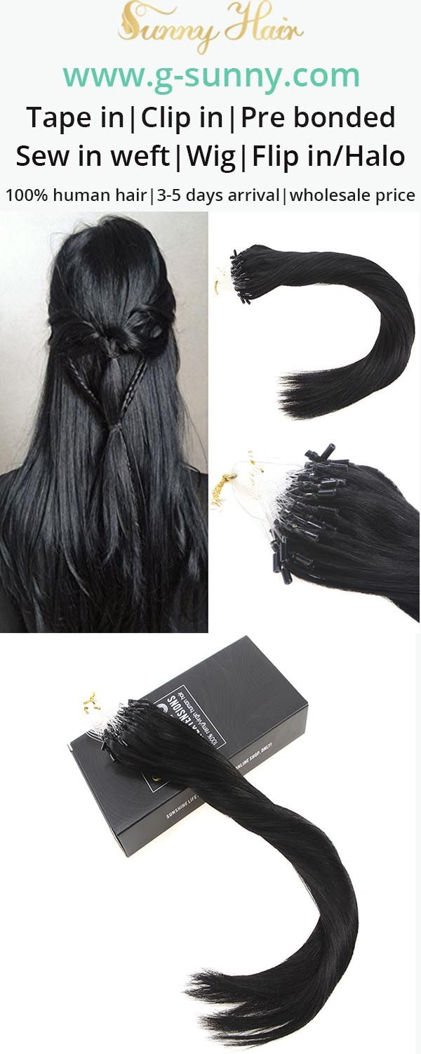 Sunny Hair 100% remy human hair extensions, micro ring human hair extensions. Black color hair. Factory directly selling with wholesale price. www.g-sunny.com