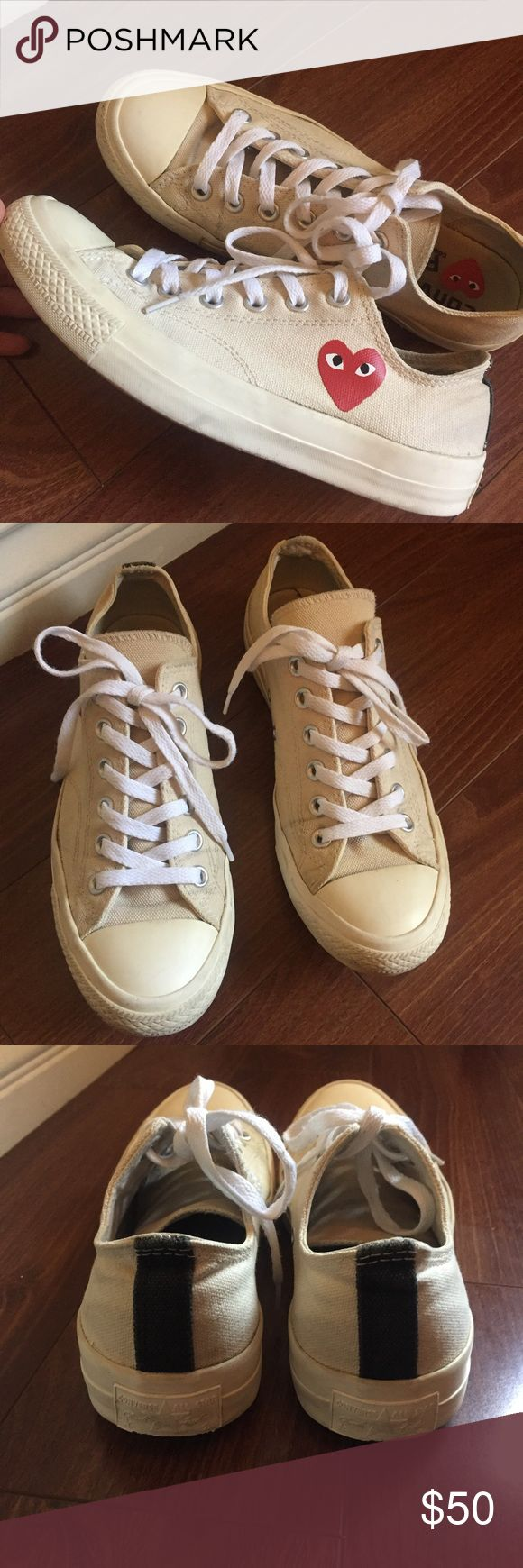 Comme Des Garcon Converse ✨ Comme Des Garçon Converse. Used. These are authentic and purchased from Nordstrom. The color is a creamy canvas color, not supposed to be white. Size womens 8 and mens 6. It comes with the original shoe box as pictured in the last photo but the shoe box has a tear and stain from being in my closet. Feel free to comment any questions. 😊💕 Comme des Garcons Shoes Sneakers