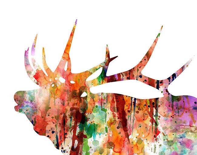Antler Stag Elk Print Set of 2  Minimalist by TheCuttingEdgeShop