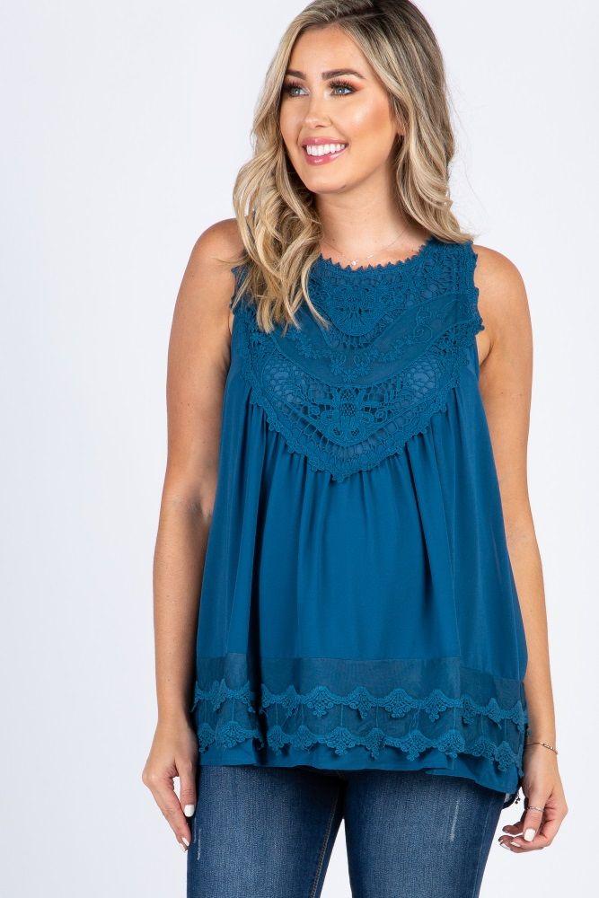 d864a307d98527 Mint Green Crochet Neck Chiffon Maternity Blouse in 2019 | my style ...