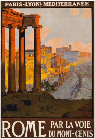 Rome Italy Tourism Travel Vintage Ad Poster Print Prints at AllPosters.com
