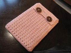 Crochet Laptop Sleeve - Try adding a small pocket on the front for headphones or a larger on for a charger.