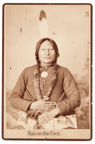 D. F. Barry portrait of great Hunkpapa warrior, Rain-in-the-Face. He is often credited with killing Custer at the Battle of Little Big Horn (an act he denied).
