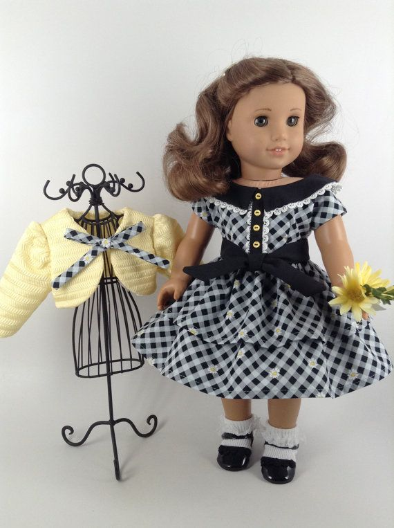 American Girl 18-inch Doll Clothes - 1950's Ruffled Dress, Jacket, and Petticoat