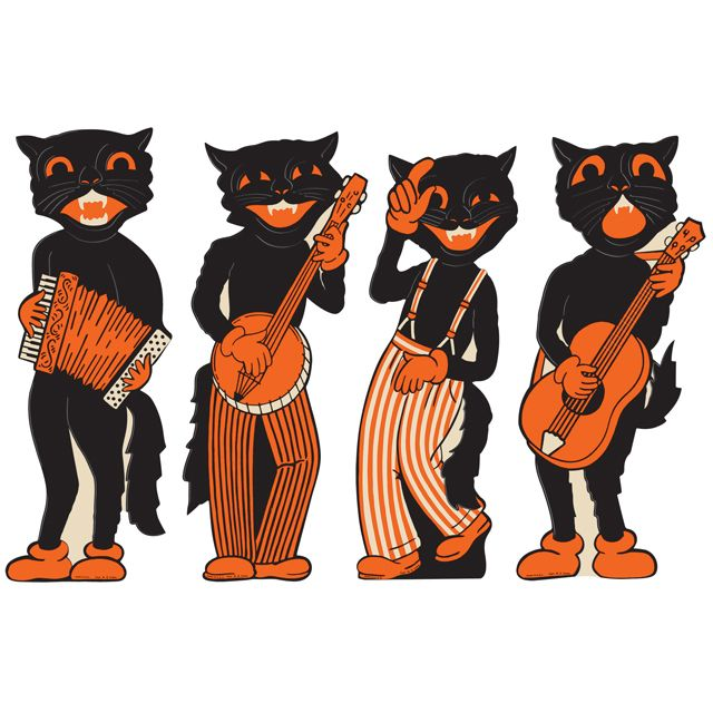 4 Retro Scat Cat Band Decorations Die Cuts Cutouts Vtg Beistle 1941