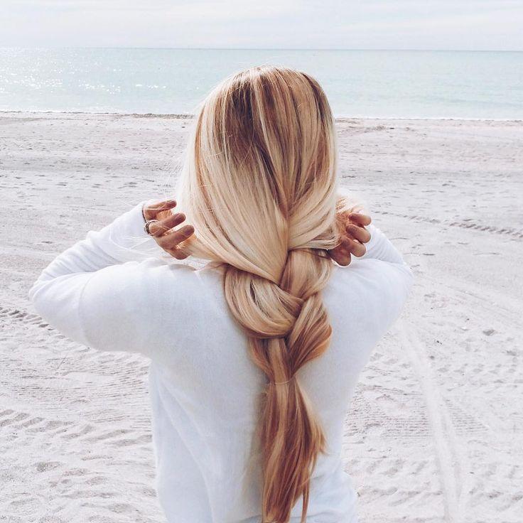 Loose braid for the beach for easy going summer hair idea!