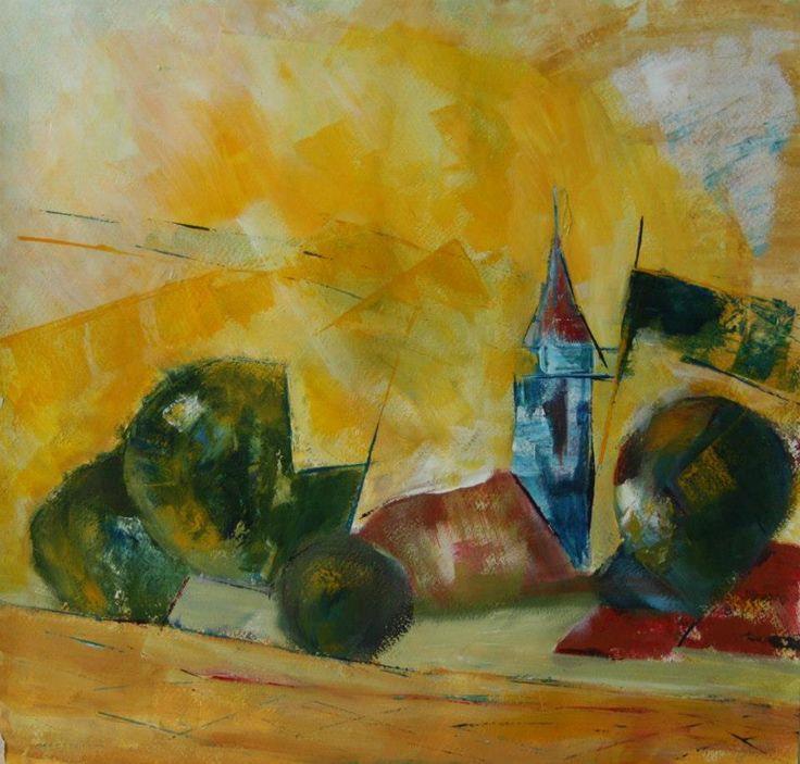 The village  canvas , 40x40cm