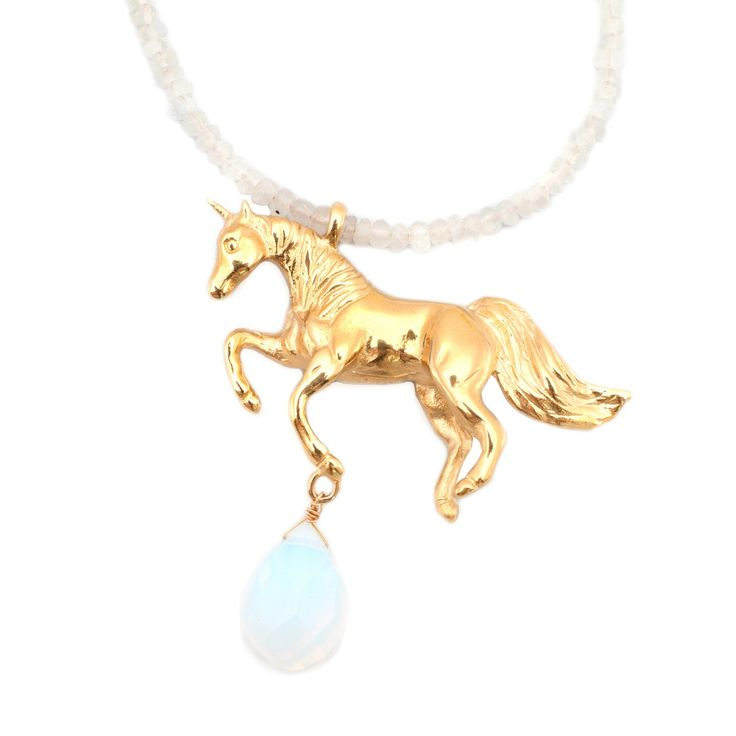 Unicorn Necklace Moonstone | LEIVANKASH | Wolf & Badger